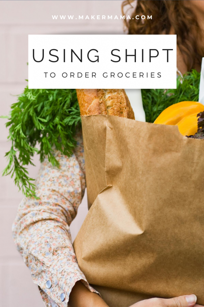 "woman holding paper bag full of groceries, caption reads ""using shipt to order groceries"""