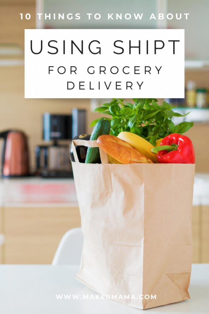 "bag of groceries on counter, caption reads ""10 things to know about using Shipt for grocery delivery"""